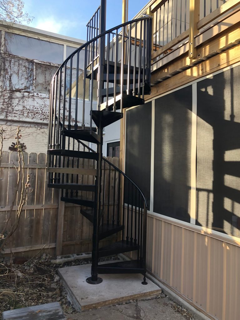 Powder coated spiral stair for commercial business
